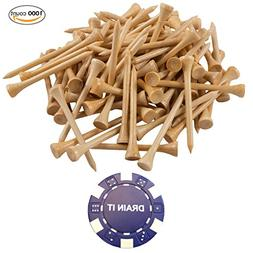 1000 Count Professional Bamboo Golf Tees 2-3/4 inch - Free P