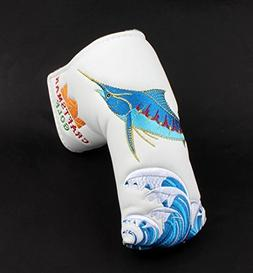 Craftsman Golf White Fish Magnetic Golf Blade Putter Cover H