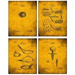 TheNameStore Golf Patent Print Wall Art - Set of Four Fine A