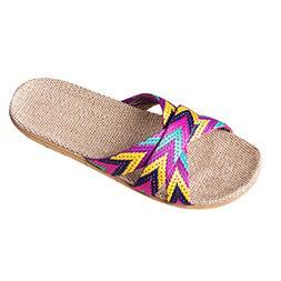 HYIRI Indoor Summer Slippers, Women's Men's Anti-Slip Linen