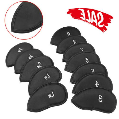 12x Black PU Leather Golf Club Head Cover Wedge Iron Soft Pu