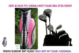 AGXGOLF Ladies Left Golf Set wPink Bag +Driver+Hybrid+Irons+