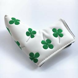 Lucky Shamrock Golf Blade Putter Cover Headcover - White fit