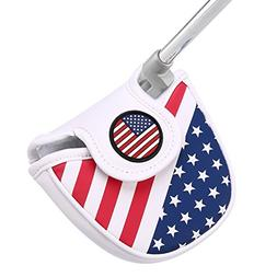 HDE Mallet Putter Cover with Magnetic Closure 2 Ball Leather