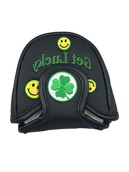 Smile Face Mallet Putter Cover Headcover - Black Mallet Head