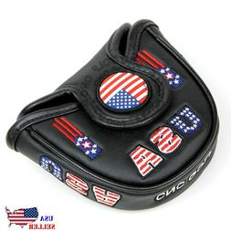 USA AMERICA MALLET BLACK Putter Cover Headcover For Scotty C