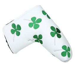 White Green Shamrock Lucky Clover Putter Head Cover Four Lea